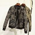 2017 nueva primavera mujeres chaqueta de la motocicleta de la cremallera chaqueta de camuflaje faux leather clothing buena calidad