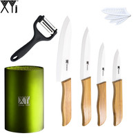 XYJ Brand Ceramic Knives Set 3 4 5 6 Bamboo Handle White Blade With Best Kitchen