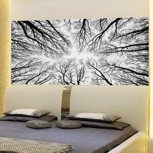 Image 5 - שחור ענפי עץ 3D ראש המיטה קיר מדבקת חדר השינה מיטת המיטה ויניל בית תפאורה
