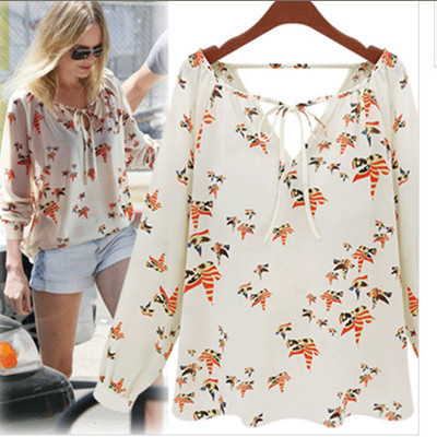 blusas femininas 2015 new summer Ladies Elegant Floral Print Blouse Women Chiffon V-neck Casual Vintage Shirts roupas - Soatrld1 Store store