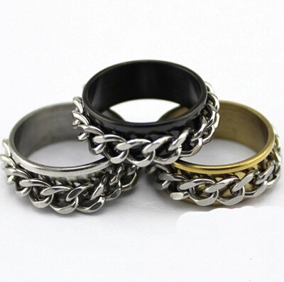 free shipping 2017 new fashion europe and america chain double rotating ring domineering male and female gear couple ring sa056 - Gear Wedding Ring