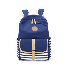 Девушка рюкзак новый 2017 женщины юности сумка школьные сумки mochila Бесплатная доставка Полосатый холщовый мешок