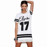 VISNXGI Women Casual Hollow Out Dress 2017 Summer Letter Number 17 Printed Mesh Baseball Dresses Style