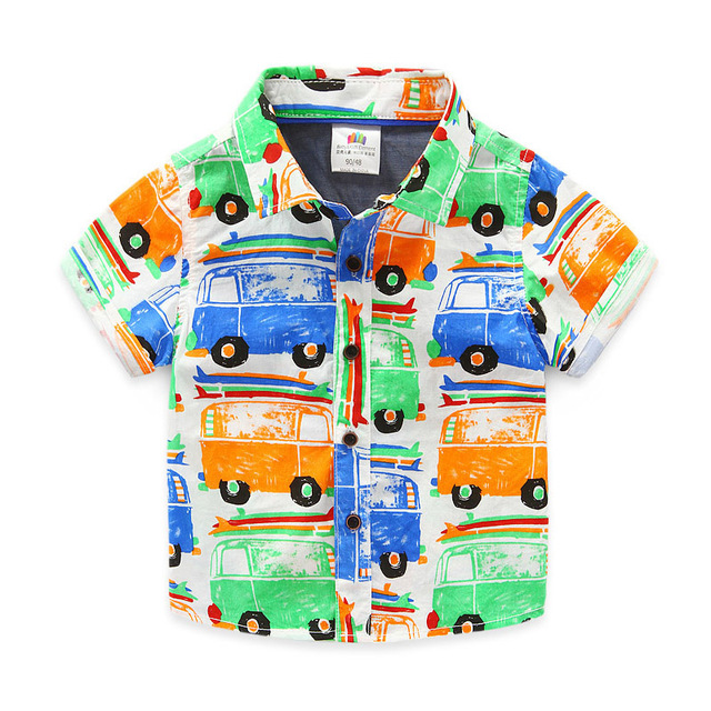 Children Tops Summer Printing Car Baby Boy T-shirt Short Sleeve Button Toddler Boys Tops 2016 Fashion Kids Clothes Boys 2617W