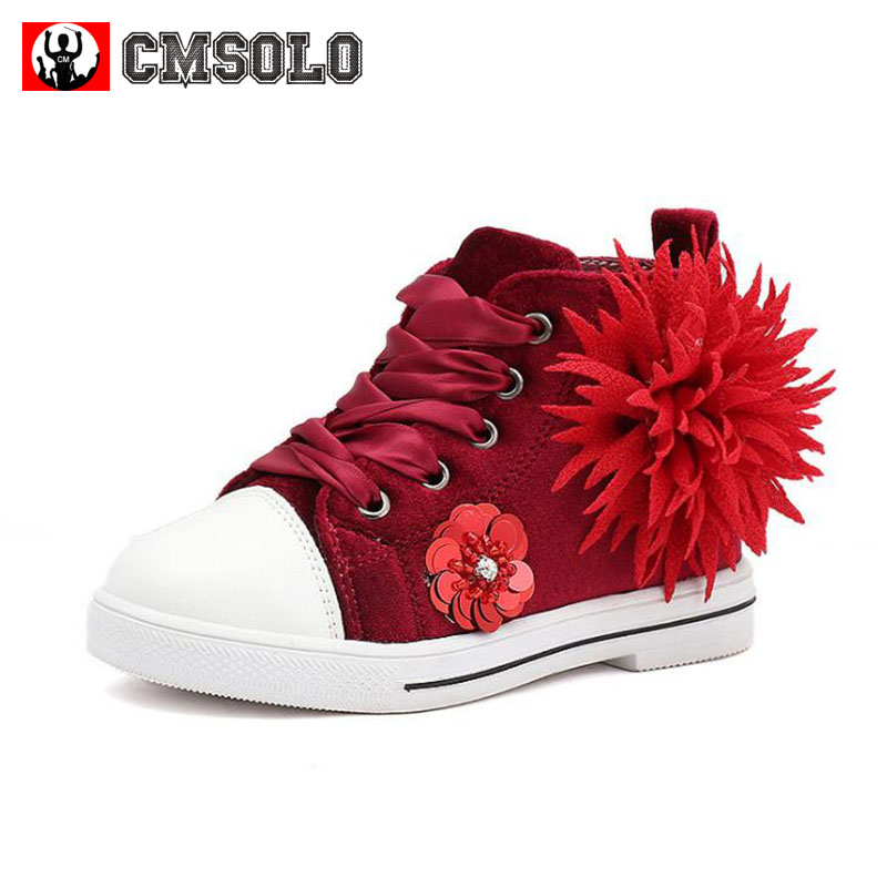 CMSOLO Casual Shoes Girls Flower Kids Fashion Sneakers Flannel Boys Children Footwear Pink Red Gray Flat School Brand Quality