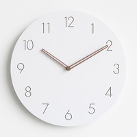 2018 Modern Concise Wooden White Wall   Clock   Scandinavian Style Noiseless Hanging Wall   Clocks   with Hollowed Hands Home Decoration