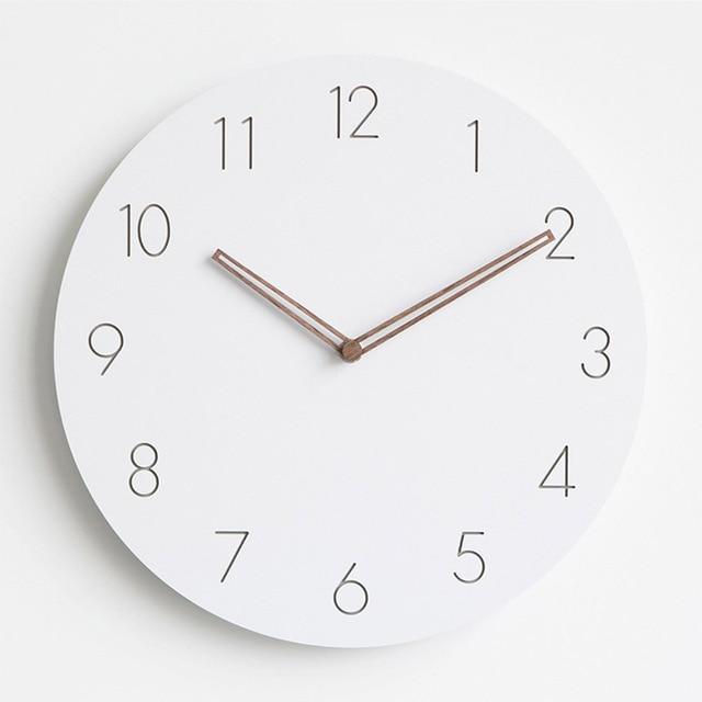 28f18bda820f 2018 moderno madera concisa Reloj de pared blanco estilo escandinavo  silencioso colgantes Relojes de pared con