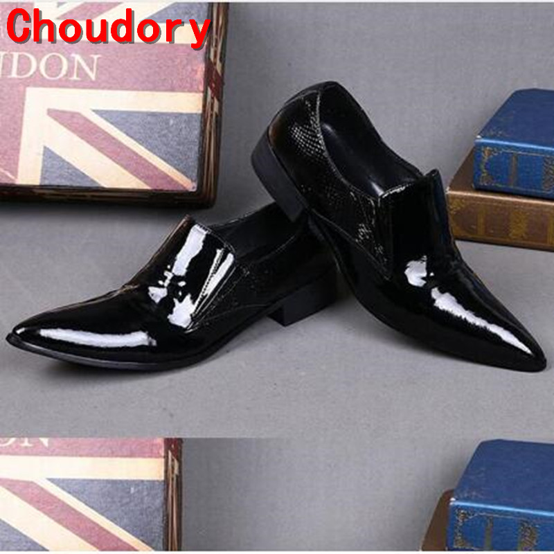 Choudory Fashion Designer Dancing Shoes Men Wedding Shoes Flats Mens Oxford Dress Shoes Patent Leather Big size 46