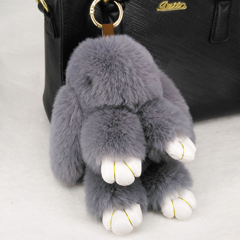 Cute Rabbit Puffy Key Chains Handmade  Bags Pendant Fashion Jewelry Ornament Car Keychain New Year Gifts Kids Toys