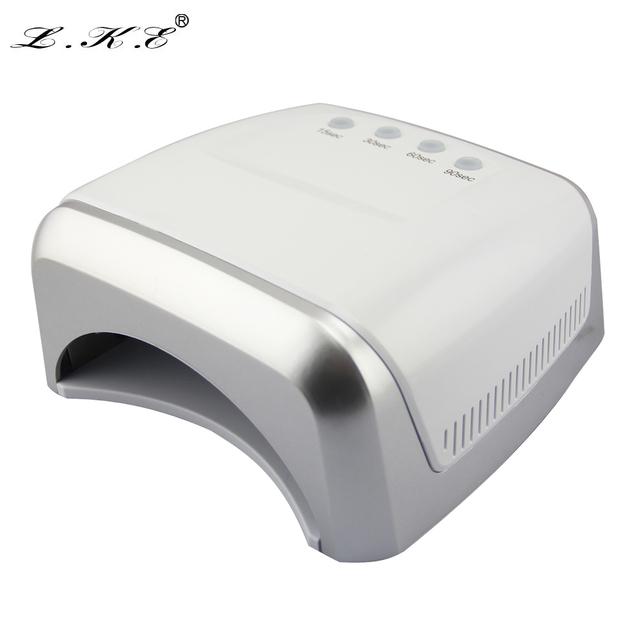 Lke popular diseño de uñas de gel lámpara conveniente profesional 60 w 405 + led 365nm doble propósito manicura de alta potencia led fototerapia