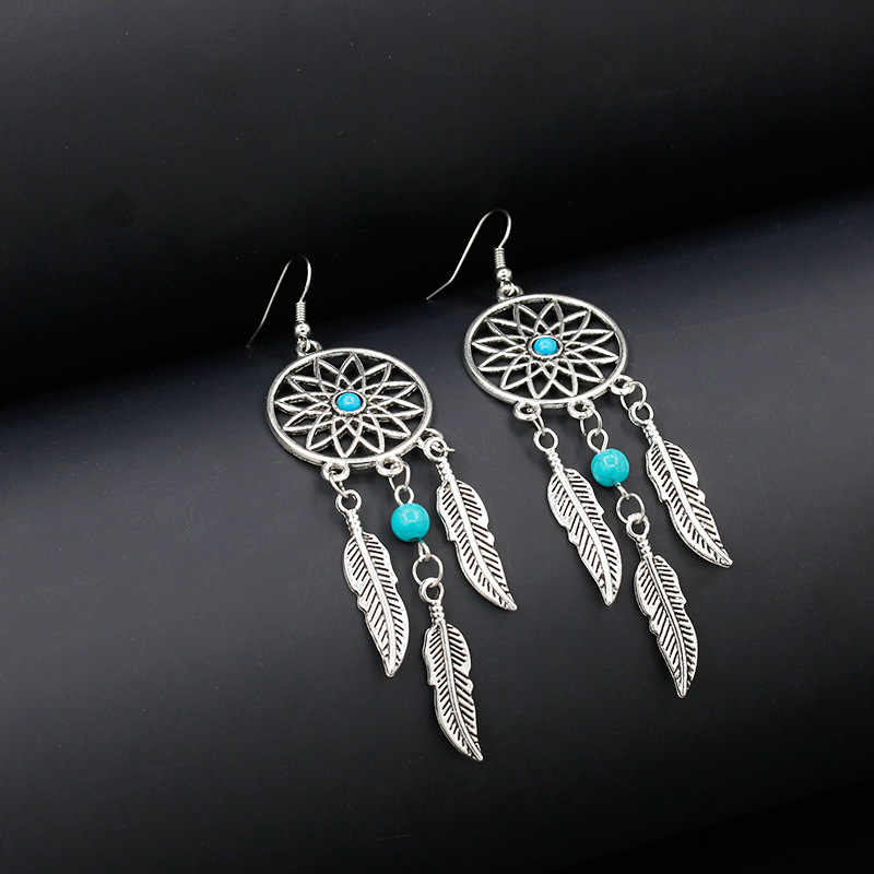 Vintage Silver Tassel Dream Catcher Feather Earrings For Women Girls Round Earring 2018 Bohemian Style Statement Jewelry