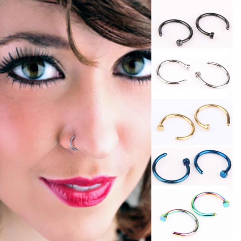 1pcs Sex Fake Nose Ring C Shape Clip On Nose Piercing Studs