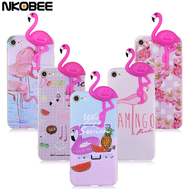 official photos 3e7b7 c55ea US $3.74 |NKOBEE For iPhone 8 Case Silicone Flamingo 3D Phone Case For  iPhone 7 6 Transparent Back Cover Coque For iPhone 8 Plus Case Cute-in  Fitted ...