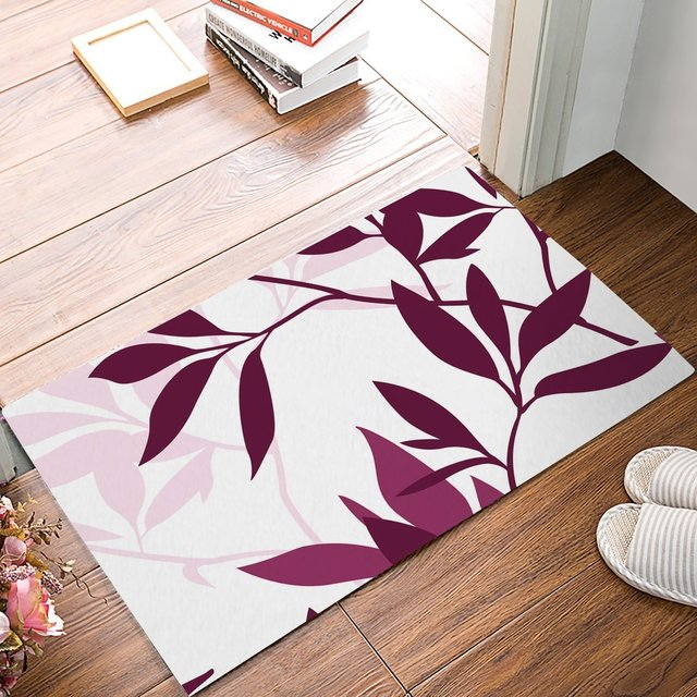 Purple Plant Leaves Door Mats Kitchen Floor Bath Entrance Rug Mat Absorbent Indoor Bathroom Rubber Non Slip