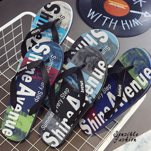 plus size 38-45 Men's Flip Flops Outside Rubber Male Slippers Summer Fashion Letter doodle Beach Sandals Shoes for Man