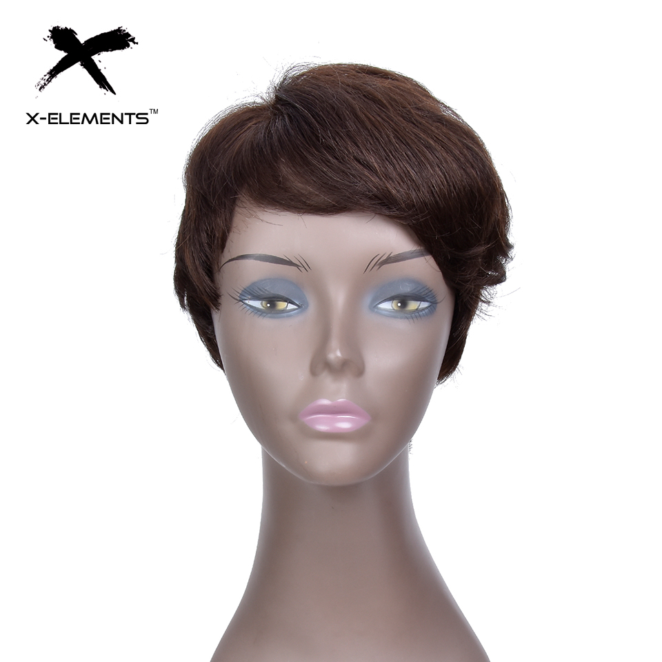 X-Elements Peruvian Short Human Hair Wigs With Bangs H.VERA Non-Remy Machine Made Natural Wave Hair Wigs For Women No Smell (1)