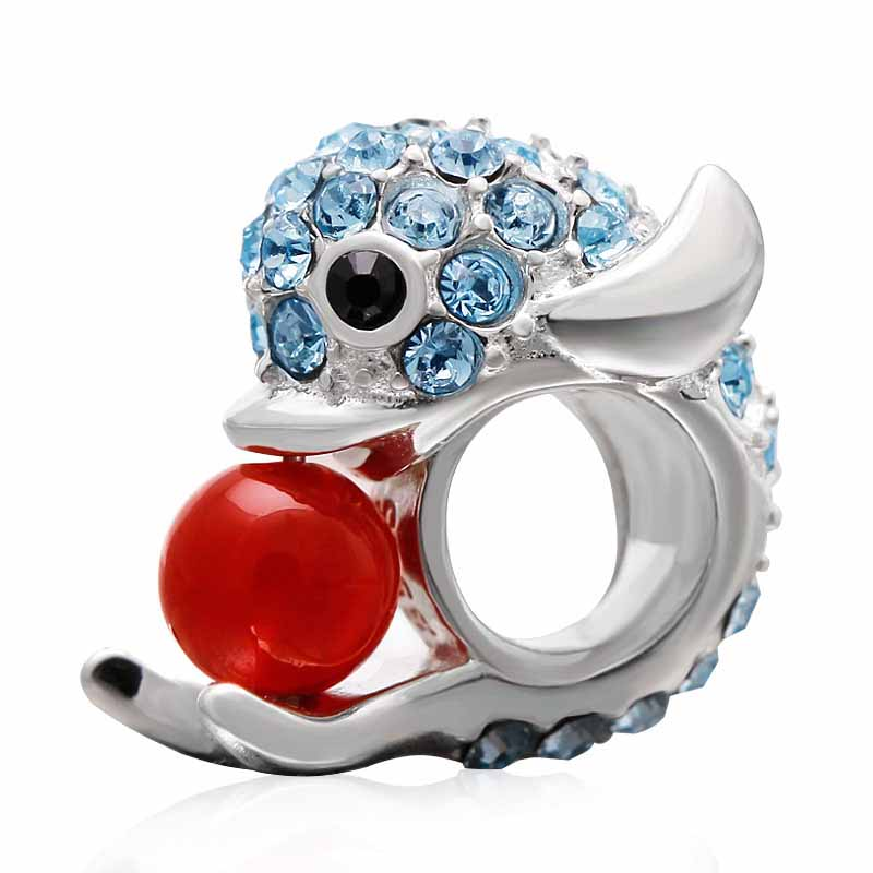 925 Sterling Silver Beads Animal Charm Dolphin With Red Ball And Blue CZ Fit Original Pandora Charms Bracelet DIY Jewelry Making