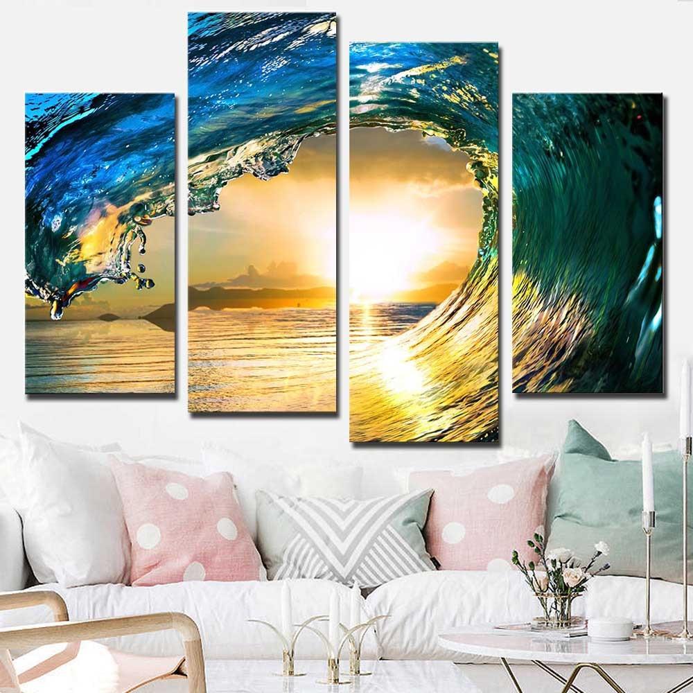 4 Pcs/Set Large Blue Ocean Wave Canvas Print Painting Modern ...