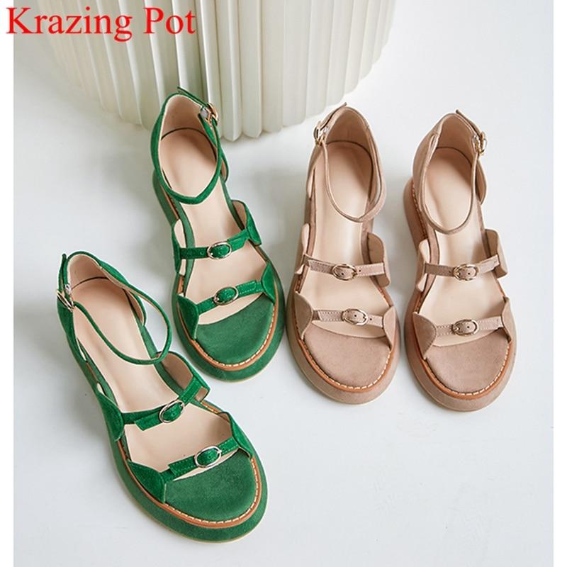 Superstar Kid Suede Buckle Strap Peep Toe High Heel Wedge Platform Women Sandals Elegant Cover Heel Office Lady Summer Shoes L96