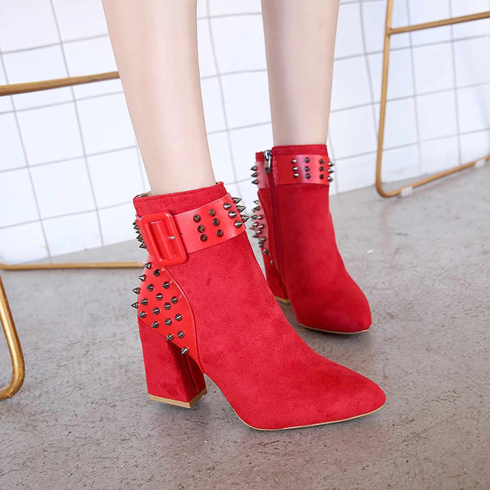 YOUYEDIAN Moda Martin Çizmeler Kadın Perçin platform ayakkabılar Parti yarım çizmeler Yüksek Topuklu ayakkabi sandalet bayan # a35