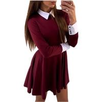 2016 Autumn Winter Dress Fashion Cute Women Turn Down Collar Casual Dresses Elegant Long Sleeve Office