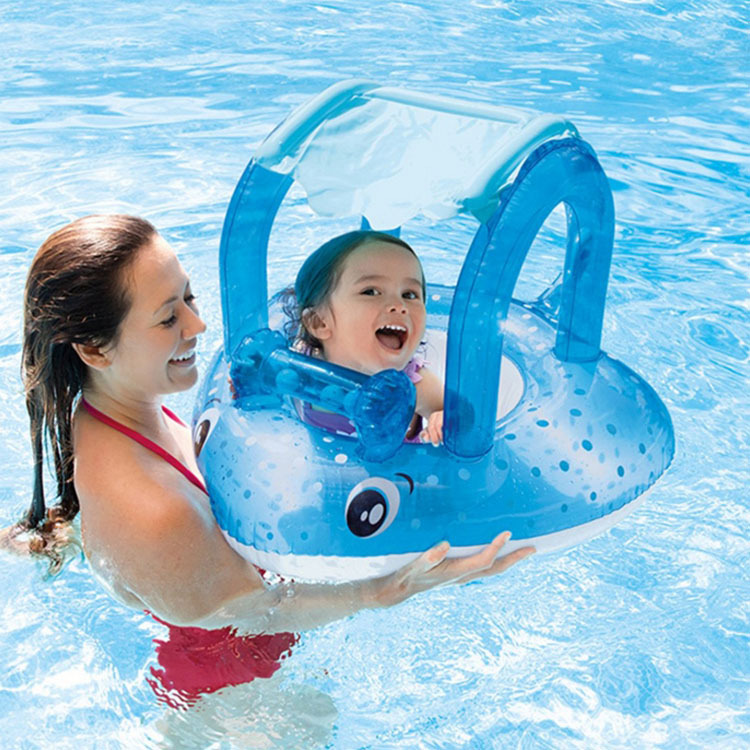 Infant Inflatable ray Swimming Ring Baby Pool Float Inflatable Water seat with Awning 0-3 years baby float ray Swimming ring