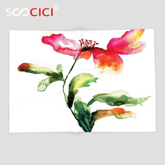 Custom Soft Fleece Throw Blanket Watercolor Flower Decor Shaded Single Poppy Flowering Plant Muse In The