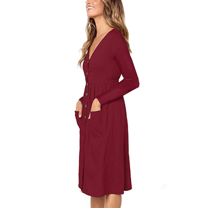 Red Blue A Line Casual Dresses Women Autumn Dress 19 Vintage Long Sleeve Dress For Ladies Buttons V Neck Midi Vestidos Female 24