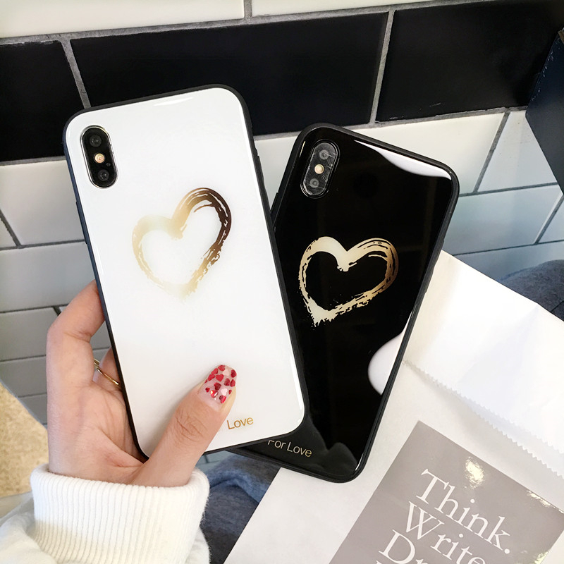 BONVAN Tempered Glass Case For iPhone X Lovely Heart Hard Back Cover Soft Silicone Bumper For iPhone 7 6S 8 Plus 6 Plus Cases14