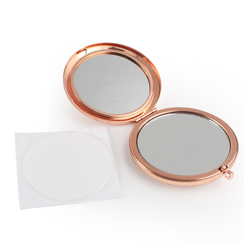 Round Mirror Compact Blank Plain rose gold Colour For DIY gift mirror (6)