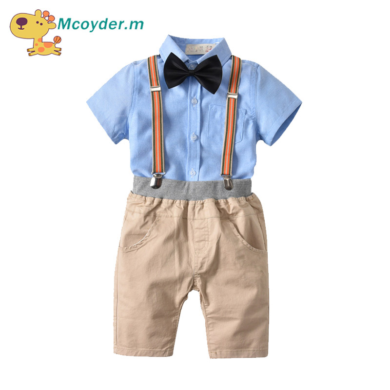 Baby Boy Clothing Set Summer Kids Clothes Set Children Clothing Short Sleeves Gentleman Bow Tie Shirts+Shorts Suits Wedding Cl