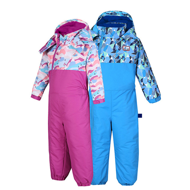 Phibee Snowsuit Windbreaker Waterproof Overalls For Boys Girls Winter Keep Warm Skiing Children Clothes Sets Baby Jumpsuit 1-3T
