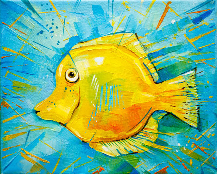 Funny Animal Fish Oil Painting On Canvas Yellow Color Fish For Wall ...