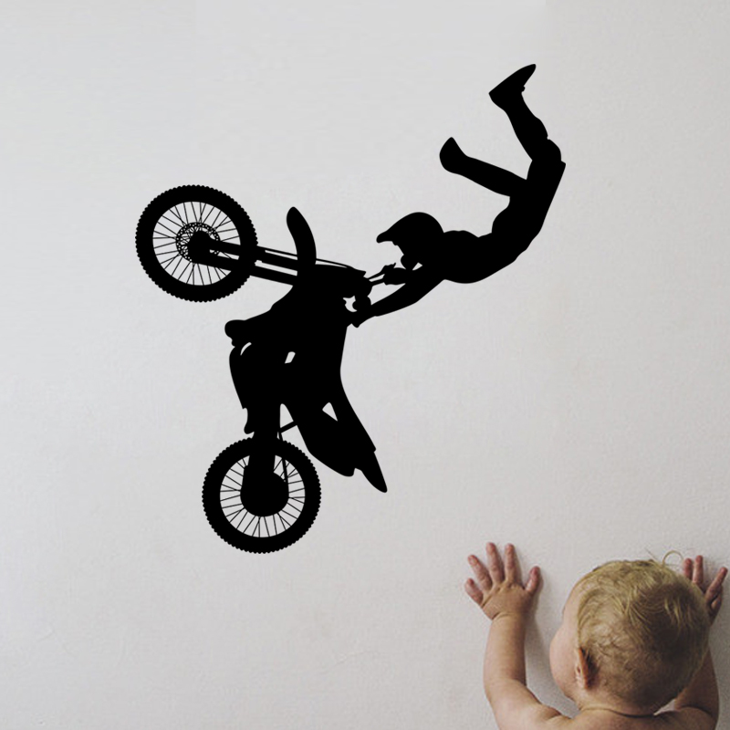 creative home decor plane wall stickers cool ride motorcycle pattern for baby kids room decals decorations - Sports Wall Stickers For Bedrooms