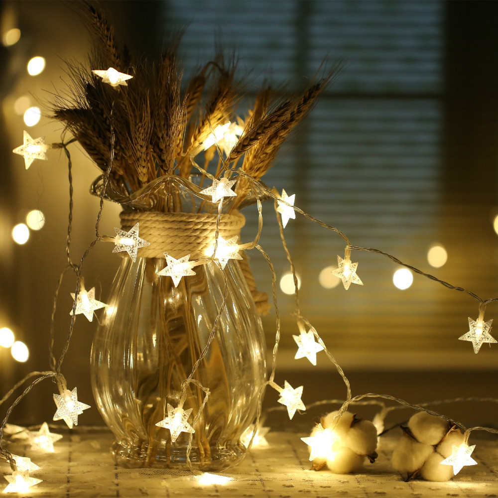 CHASANWAN 3 M 20 Lamp LED Star Battery Box Light String New Year New Year's Ornaments Christmas Decorations for Home Navidad.q 18