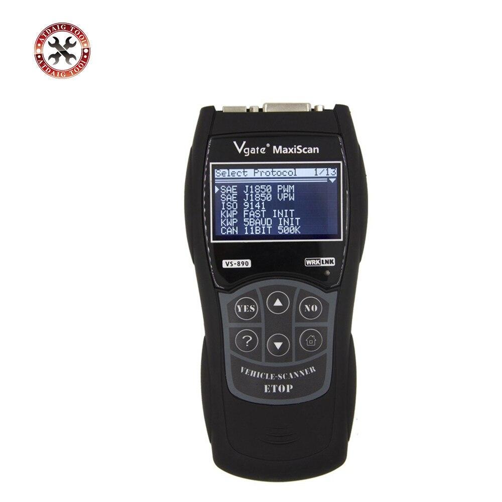OBDII Code Reader Multi-Language Car Diagnostic Tool  VGATE MaxiScan VS890 OBD2