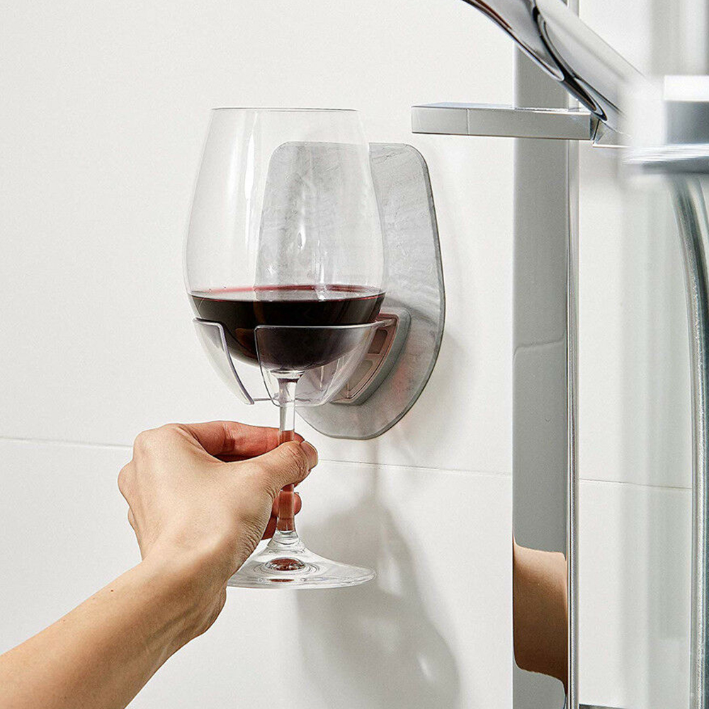 Plastic Stable Self Adhesive Shower Wine Glass Holder Easy Install Bedroom Storage Rack Home Simple Wall Mount Bathroom Durable