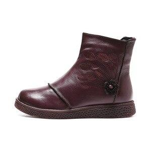 Image 2 - Mulher sapatos de plataforma plana outono inverno sapatos de couro genuíno tornozelo botas para calçados femininos macio do vintage senhoras botas 2020