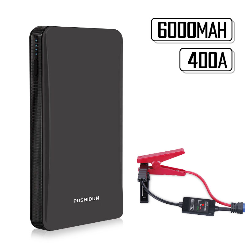 PUSHIDUN Car Jump Starter Portable Power Bank with Smart Cable Car-Charger Battery Indicator 12V for Motorcycle &Gasilone cars