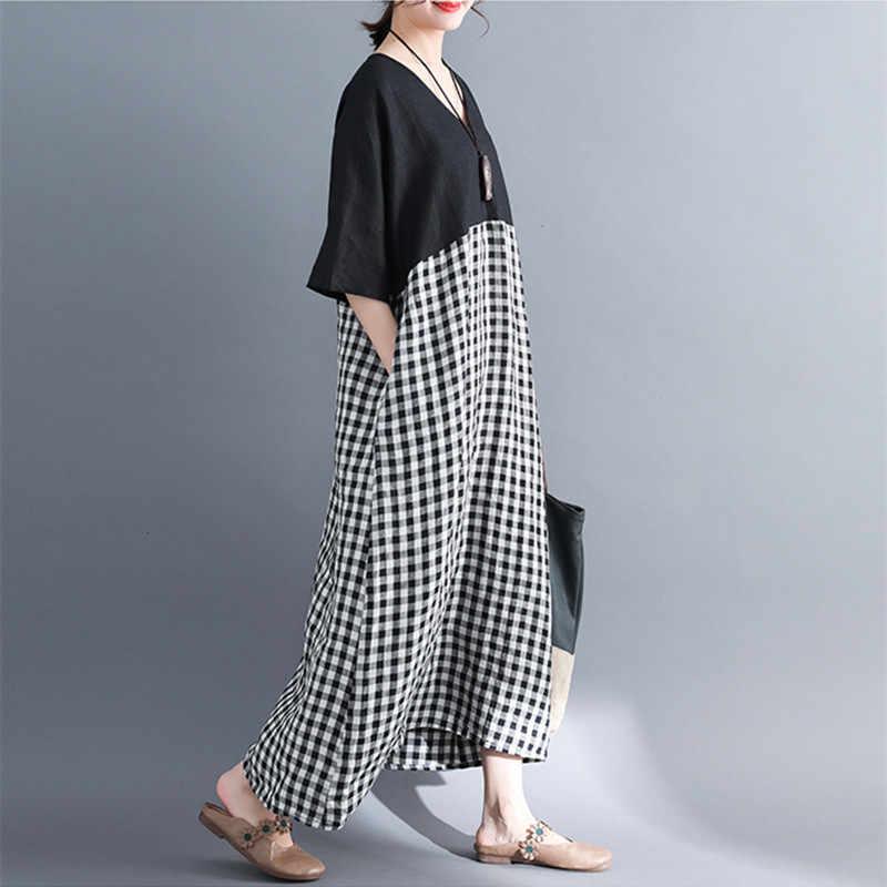 Женские платья в клеточку Johnature, винтажные в стиле пэчворк с высокой талией, v-образным вырезом, карманами и рукавами «летучая мышь», для лета, 2019