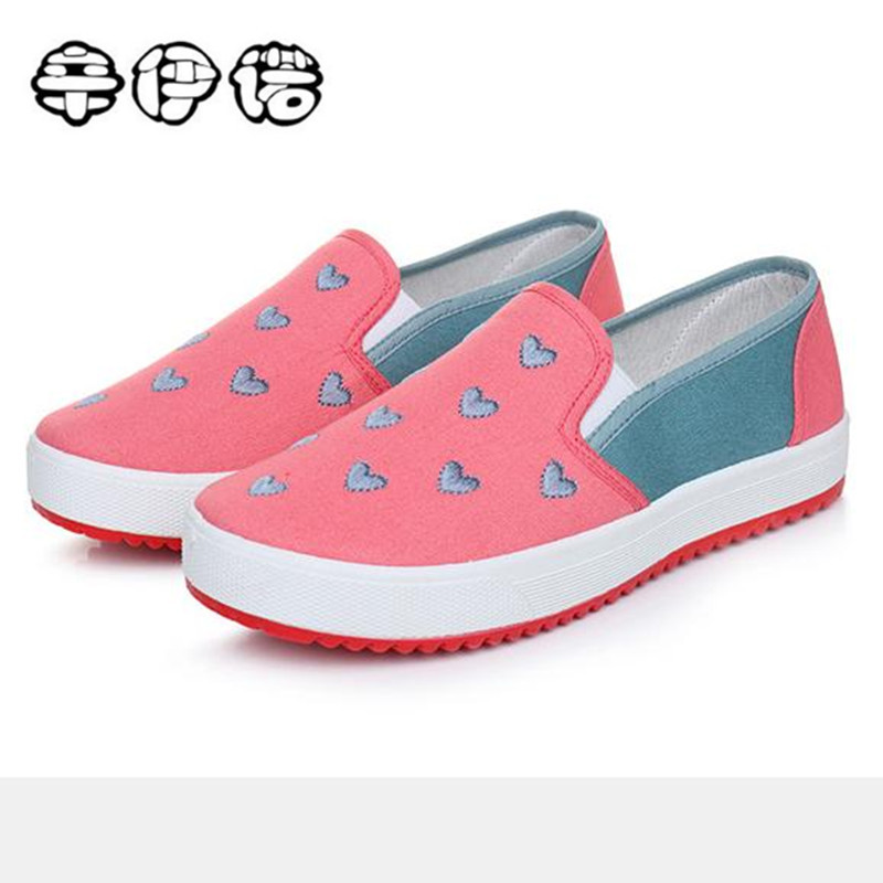 2018 Fashion Women Canvas Shoes Low Breathable Women Cute Love Heart Flat Shoes Casual Pink Cloth Shoes Size 35-40 cute love heart arrow angel bracelet for women