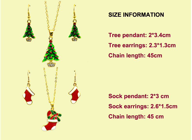 2017 Merry Christmas Tree Decoration Earrings and Necklace Jewelry, Christmas Socks Necklaces and Earring Sets Chrismas Gift