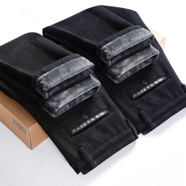 Promotion limited New Arrival Winter Warm Men Slim Straight Jean Casual Thicken Flannel Fleece Jean Elastic Wash Jean