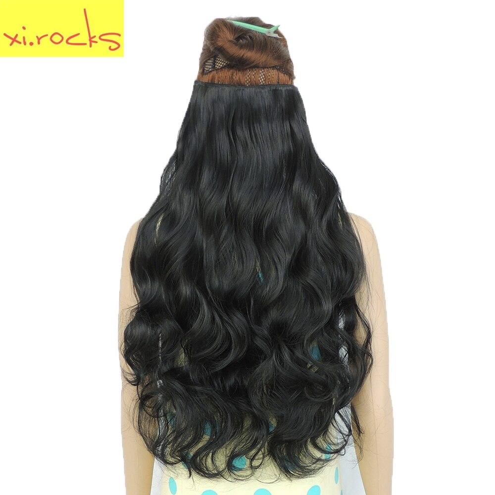 Wjj12070/2 Peça Xi. rochas 5 Clipe Sintético em Extensões de Hiar Extensão Curly perucas Peruca Hairpin Barrettes Grampos de Cabelo Preto