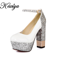 2015 New Fashion Large Size 32 42 Spring Autumn Women Shoes Sexy Round Toe Glitter Platform