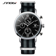 SINOBI Men's Military Sports Chronograph Brand Wrist Watches NATO Nylon Watchband Males Geneva Quartz Clock Spy James Bond 007