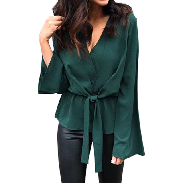 560d1579c6 2019 Fashion Chiffon Blouse Women Casual Long Sleeve Womens Tops and Blouses  Sexy V Neck Office Ladies Tops Shirt Blusas Mujer-in Blouses   Shirts from  ...