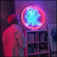 Palabras chinas para fiesta, bombillas de neón, Letrero icónico, Bar de cerveza, sala de juegos, manualidades, lámparas de hotel, publicidad, Letrero, neón, enseigne lumine