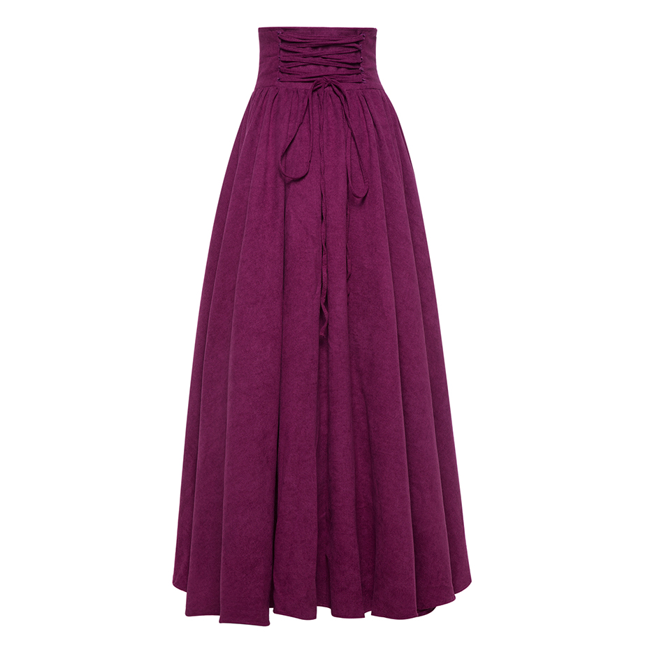 Vintacy Purple Ball Gown Skirts Vintage High Waist Lace Up Floor ...