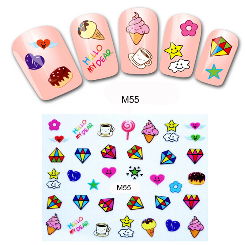 5Pcs 3D Design Nail Art Decals Water Transfer Stickers Nail Art ...